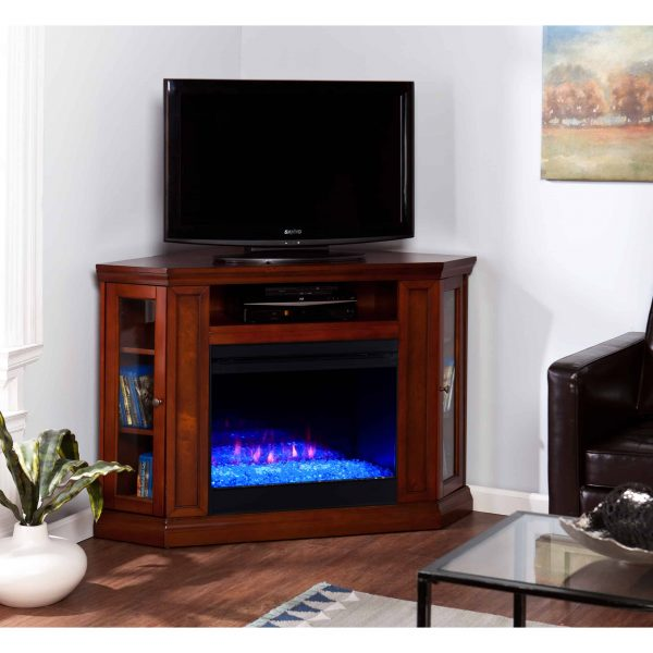 Silverado Color Changing Convertible Fireplace – Brown Mahogany