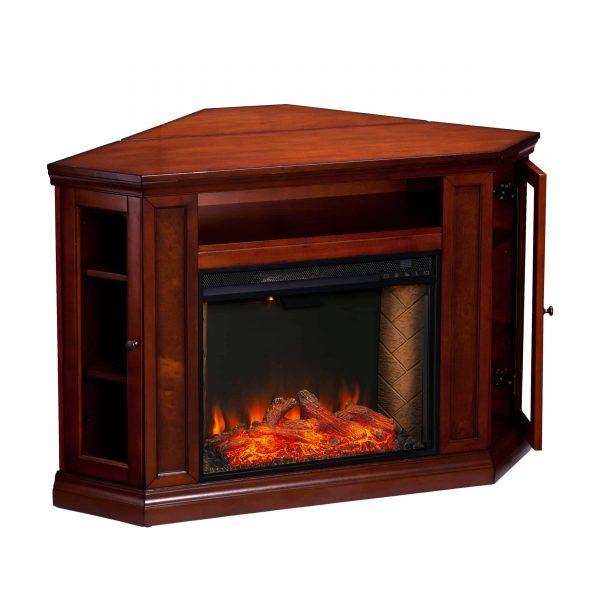 Silverado Smart Corner Fireplace w/ Storage – Brown Mahogany 1