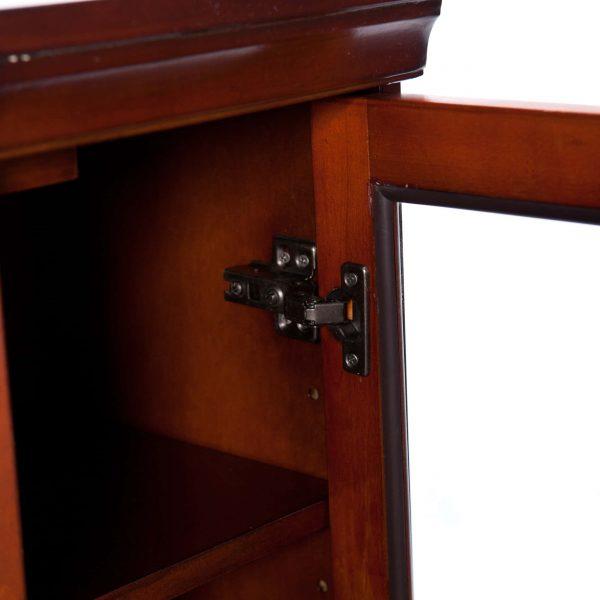 Silverado Smart Corner Fireplace w/ Storage – Brown Mahogany 10