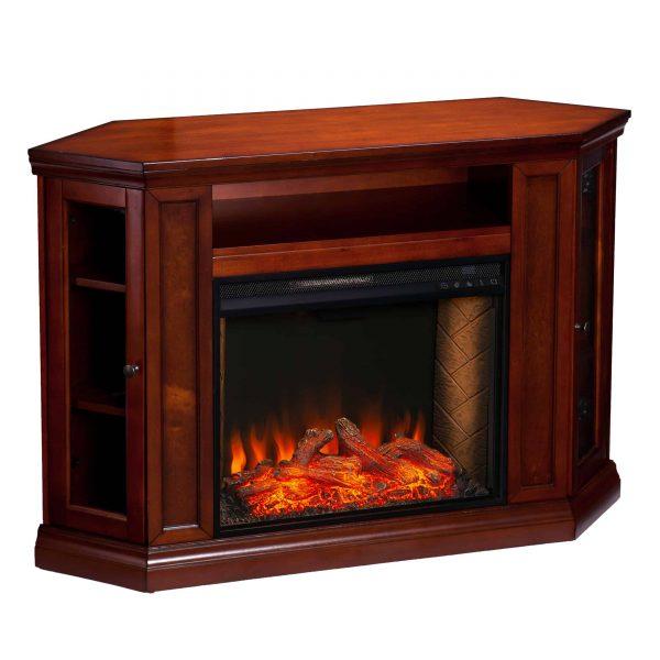 Silverado Smart Corner Fireplace w/ Storage – Brown Mahogany 11