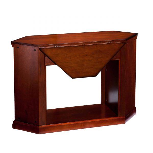 Silverado Smart Corner Fireplace w/ Storage – Brown Mahogany 12