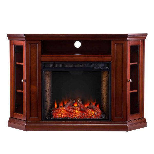 Silverado Smart Corner Fireplace w/ Storage – Brown Mahogany 13