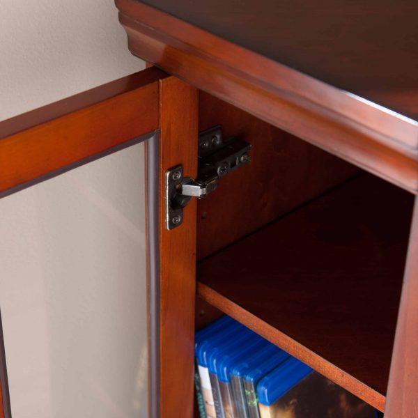 Silverado Smart Corner Fireplace w/ Storage – Brown Mahogany 3