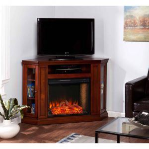 Silverado Smart Corner Fireplace w/ Storage – Brown Mahogany