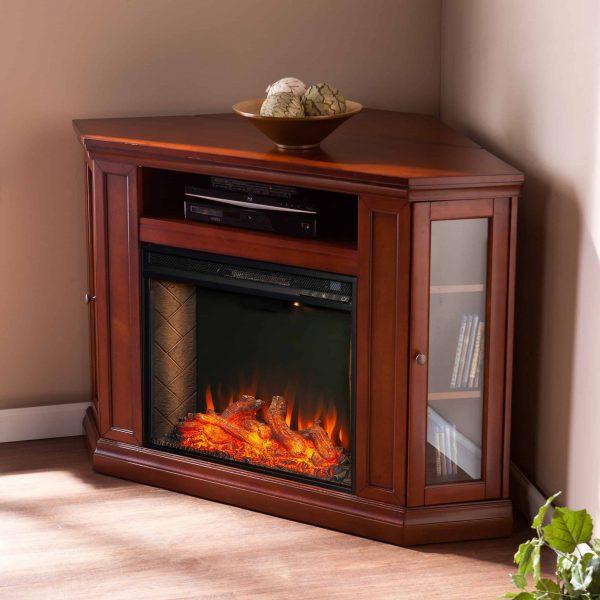 Silverado Smart Corner Fireplace w/ Storage – Brown Mahogany 4