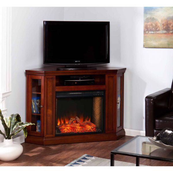 Silverado Smart Corner Fireplace w/ Storage – Brown Mahogany