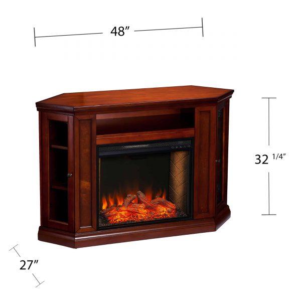 Silverado Smart Corner Fireplace w/ Storage – Brown Mahogany 7