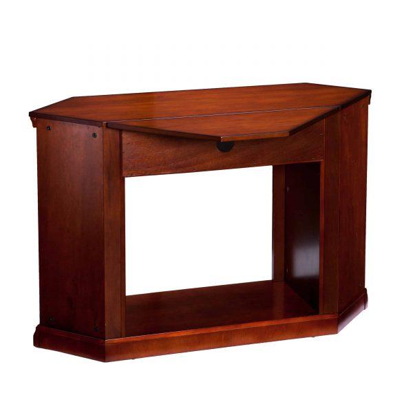 Silverado Smart Corner Fireplace w/ Storage – Brown Mahogany 8