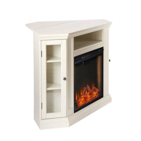 Silverado Smart Corner Fireplace w/ Storage - Ivory 1