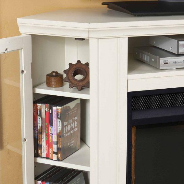 Silverado Smart Corner Fireplace w/ Storage - Ivory 10