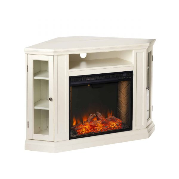 Silverado Smart Corner Fireplace w/ Storage - Ivory 11
