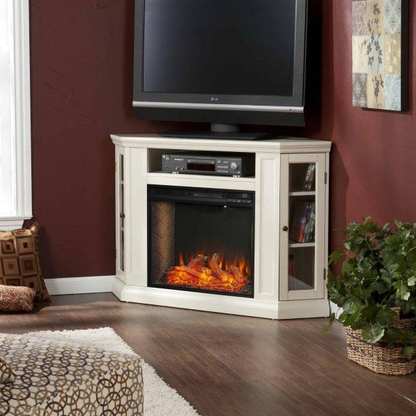 Silverado Smart Corner Fireplace w/ Storage - Ivory 2