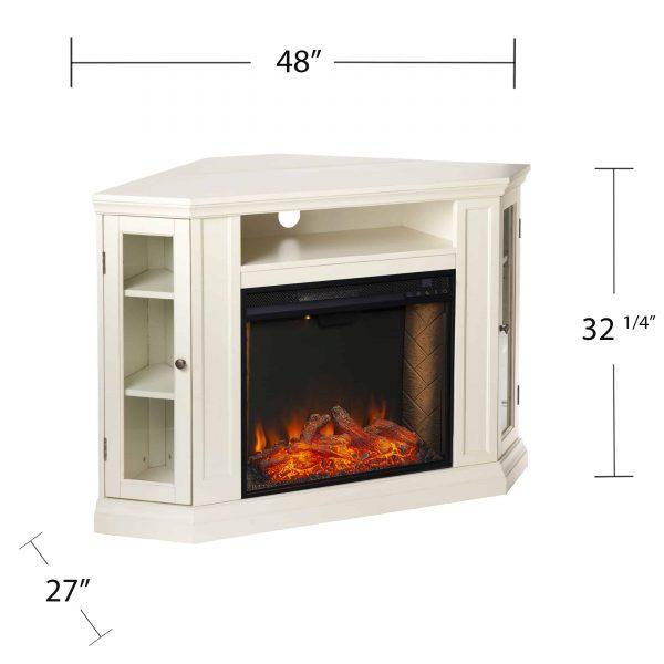 Silverado Smart Corner Fireplace w/ Storage - Ivory 3