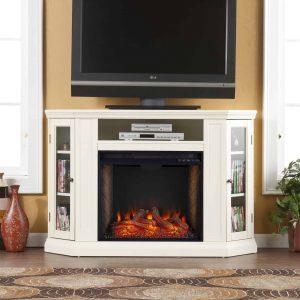 Silverado Smart Corner Fireplace w/ Storage - Ivory