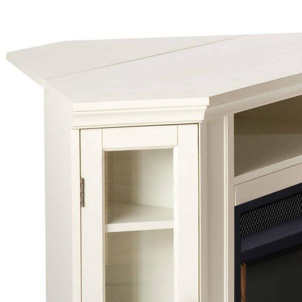 Silverado Smart Corner Fireplace w/ Storage - Ivory 4