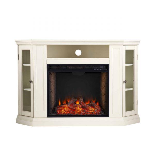 Silverado Smart Corner Fireplace w/ Storage - Ivory 8