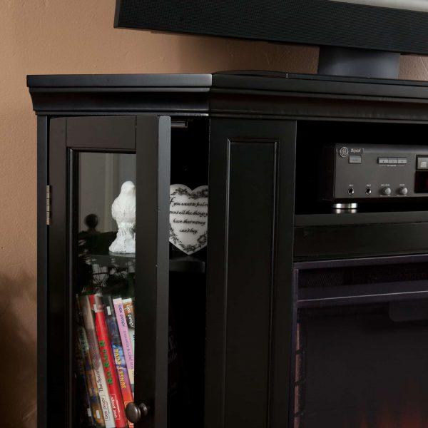 Silverado Smart Corner Fireplace with Storage - Black 11