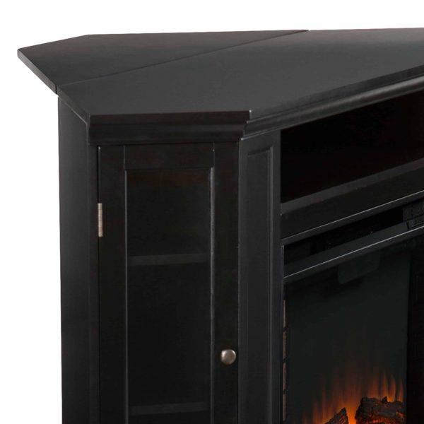 Silverado Smart Corner Fireplace with Storage - Black 12