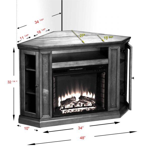 Silverado Smart Corner Fireplace with Storage - Black 2