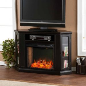 Silverado Smart Corner Fireplace with Storage - Black