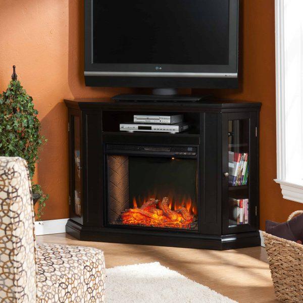 Silverado Smart Corner Fireplace with Storage - Black 4