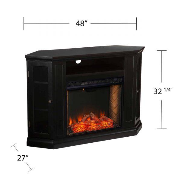 Silverado Smart Corner Fireplace with Storage - Black 6