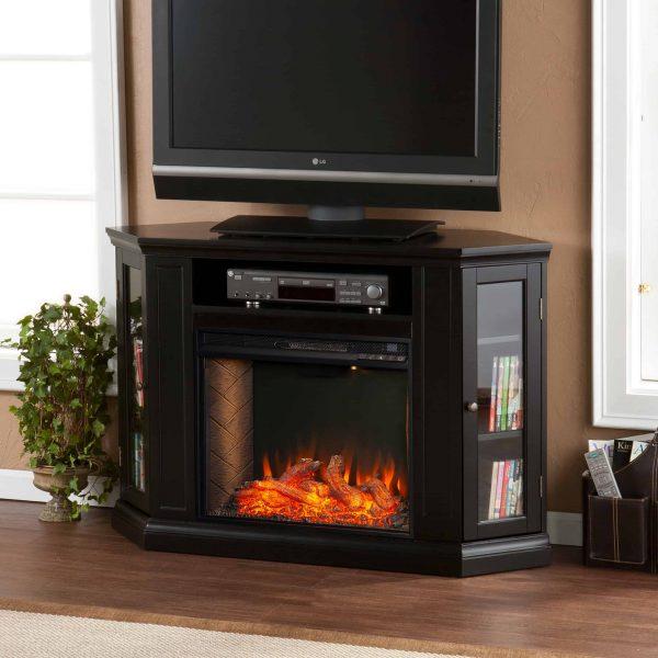 Silverado Smart Corner Fireplace with Storage - Black