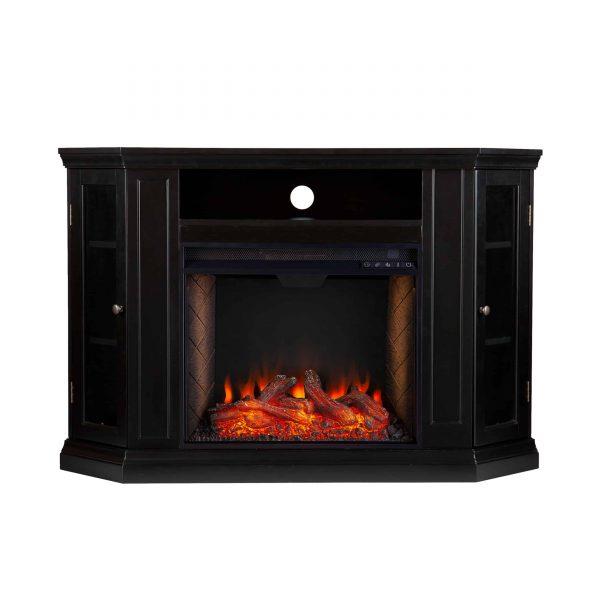 Silverado Smart Corner Fireplace with Storage - Black 8
