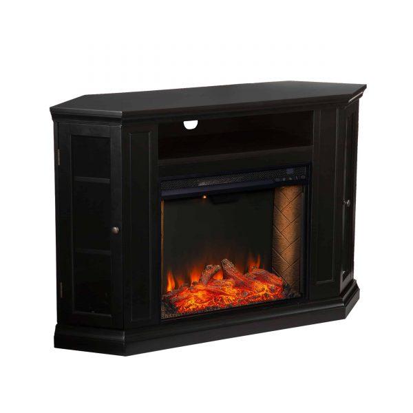 Silverado Smart Corner Fireplace with Storage - Black 9