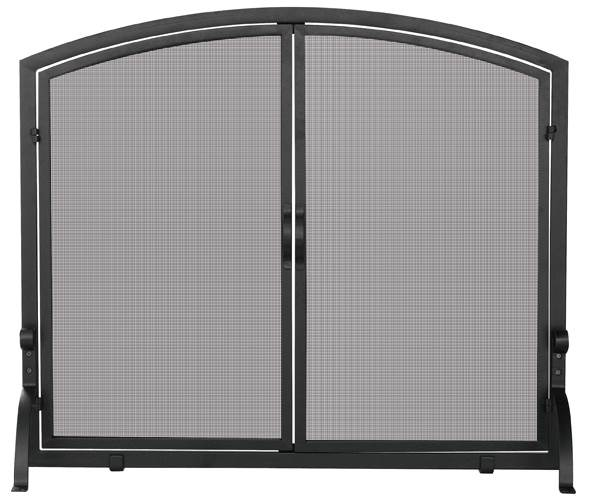 Single Panel Black Iron Fireplace Screen With Doors- Large