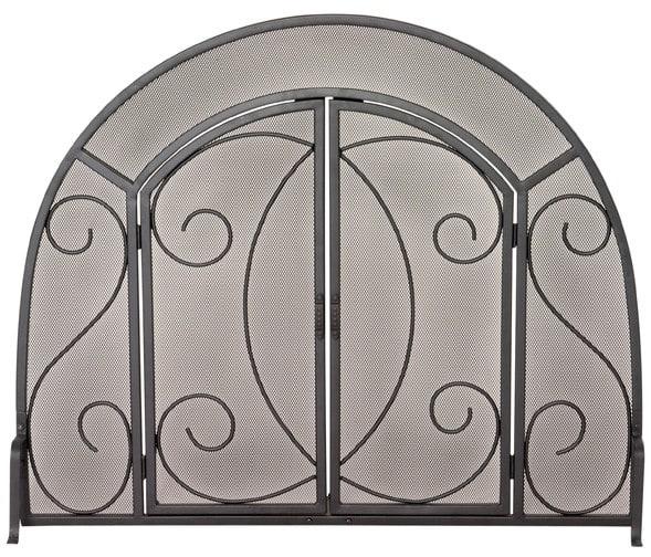 Single Panel Black Wrought Iron Ornate Screen W/ Doors