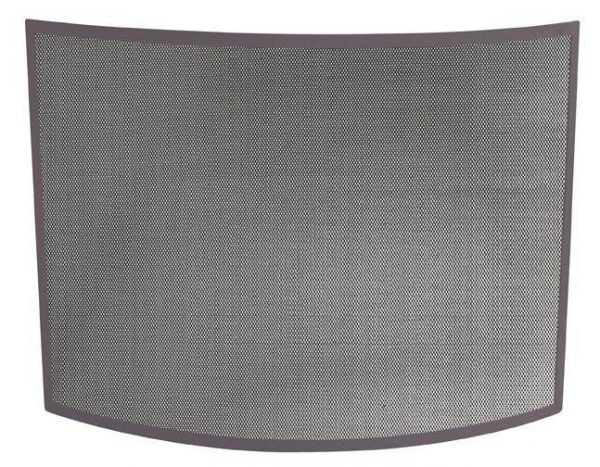 Single Panel Curved Iron Fireplace Screen w Bronze Finish