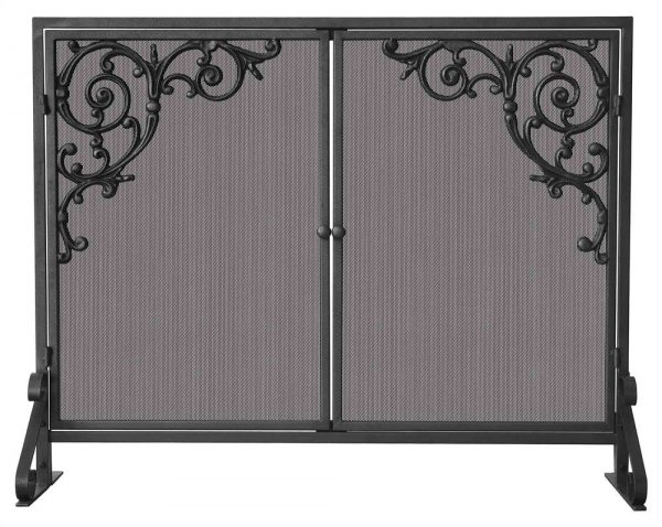 Single Panel Olde World Iron Fire Screen - Scroll Corners
