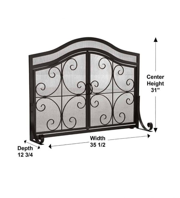 Small Crest Fireplace Screen with Doors 3