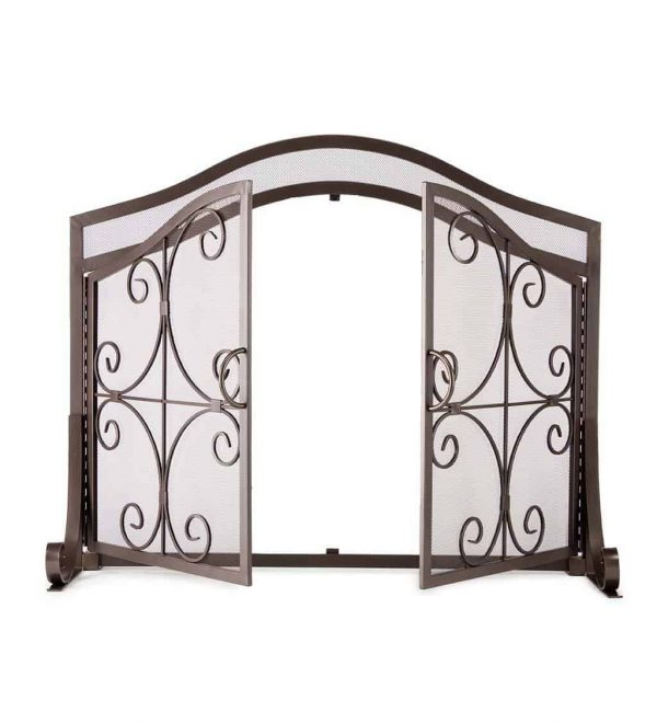 Small Crest Fireplace Screen with Doors 5