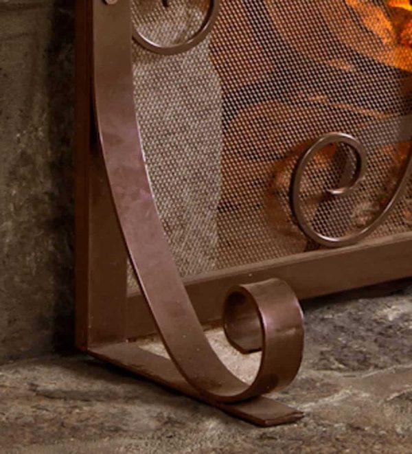 Small Crest Flat Guard Fireplace Fire Screen, Copper 1
