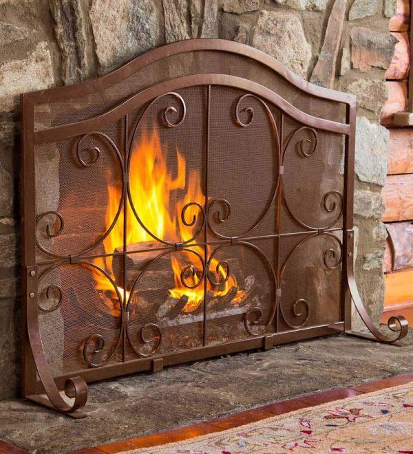 Small Crest Flat Guard Fireplace Fire Screen