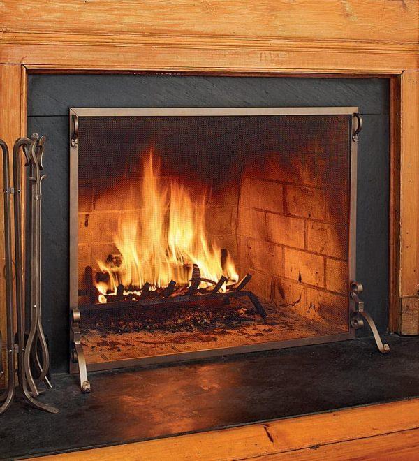 Solid Steel Flat Guard Fireplace Fire Screen