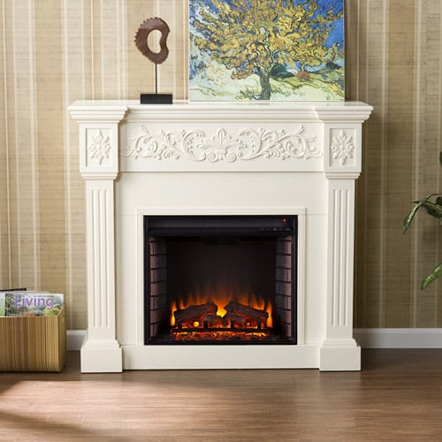 Southern Enteprises Jordan Electric Fireplace, Ivory 1