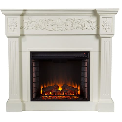 Southern Enteprises Jordan Electric Fireplace, Ivory 2