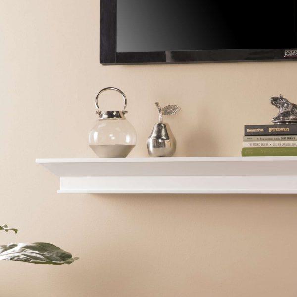 Southern Enterprises Afflo Floating Mantel/Wall Shelf, Traditional Style, White 2