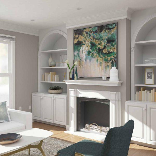 Southern Enterprises Afflo Floating Mantel/Wall Shelf, Traditional Style, White 3