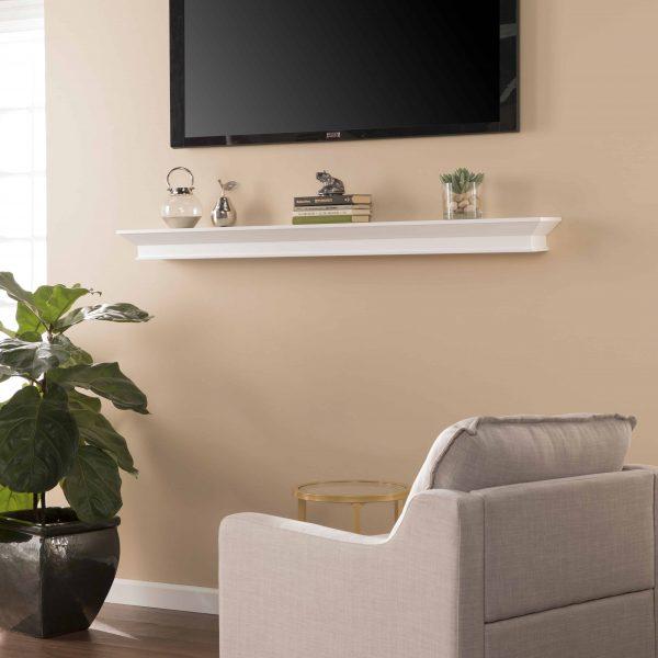 Southern Enterprises Afflo Floating Mantel/Wall Shelf, Traditional Style, White 4