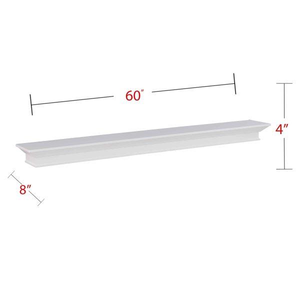 Southern Enterprises Afflo Floating Mantel/Wall Shelf, Traditional Style, White 7