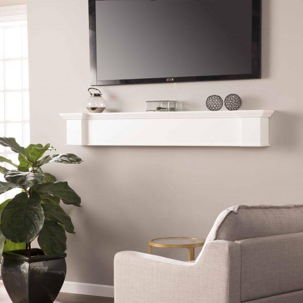 Southern Enterprises Aggeta Fireplace Mantel Shelf, Traditional Style, White 25