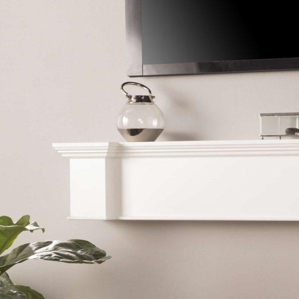 Southern Enterprises Aggeta Fireplace Mantel Shelf, Traditional Style, White 2