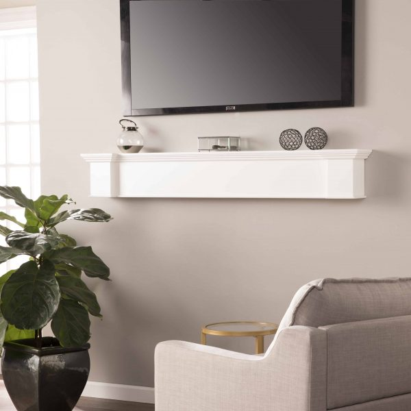Southern Enterprises Aggeta Fireplace Mantel Shelf, Traditional Style, White 3