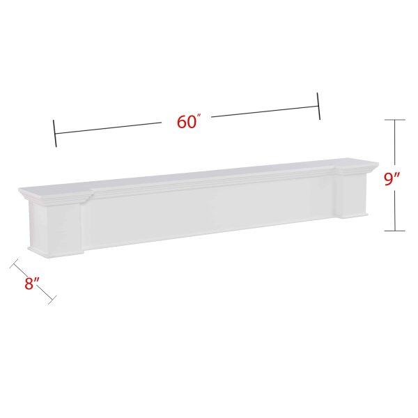 Southern Enterprises Aggeta Fireplace Mantel Shelf, Traditional Style, White 7