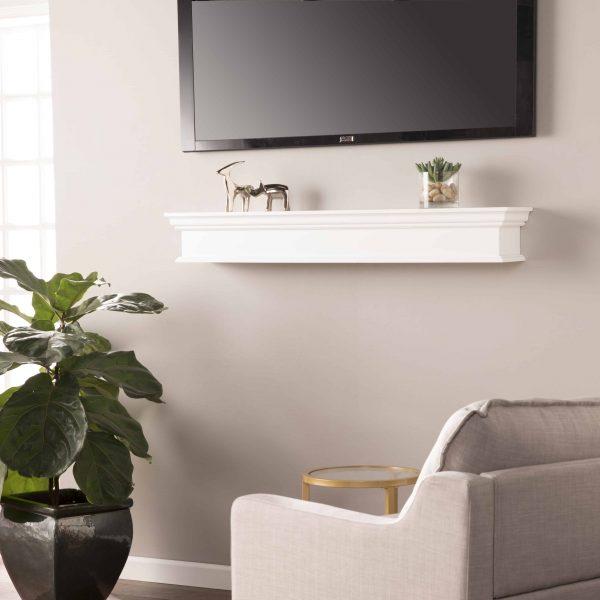 Southern Enterprises Arriflair Floating Mantel/Wall Shelf, Traditional Style, White 5
