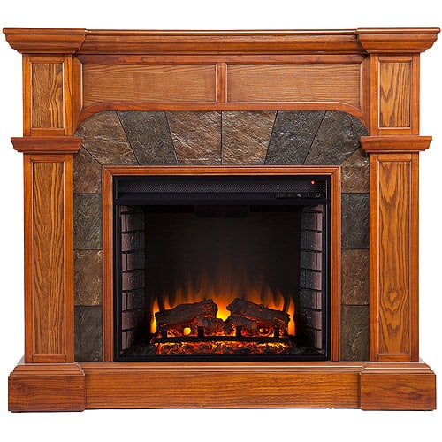 Southern Enterprises Barkley Convertible/ Corner Electric Fireplace with Faux Slate, Mission Oak 1